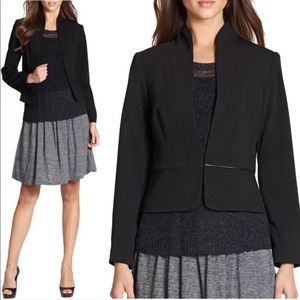 Eileen Fisher Leather-Trim Peplum Blazer Jacket